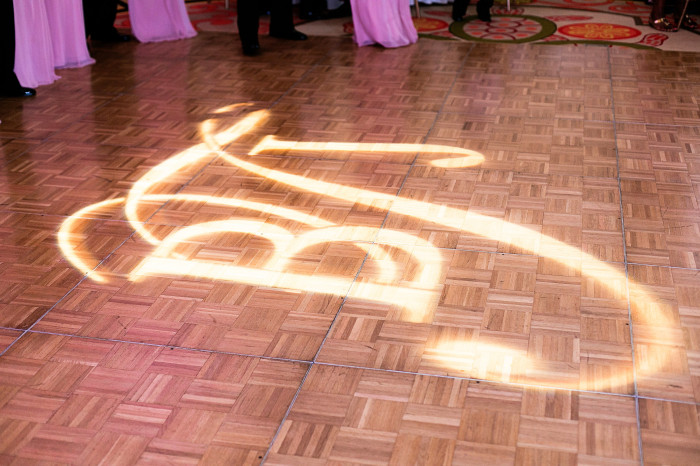 Event Design K&K Photography Sand Pearl Resort Wedding Gobo Monogram