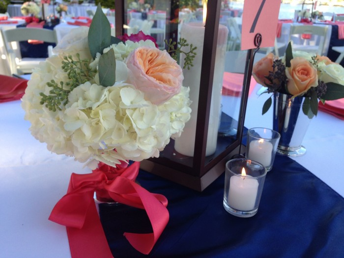 Event Design Ashfall Mixed Media Davis Island Garden Club Wedding Coral Navy