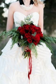 Event Design Red Rose Bridal Bouquet